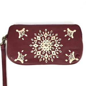 Lucky Brand 100% Leather Maroon Embroidered Wallet